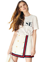 White Color Block Edge Covering Sweet Mini Skirts