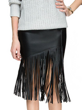 Pu Leather Fringed Skirt Waist Bag Hip Stitching