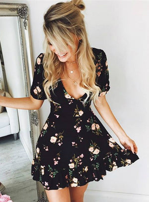 Mini Boho Floral Dress Summer Beach Short Sleeve V neck