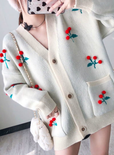 Knit Cardigan Women's Embroidery V-Neck Sweater