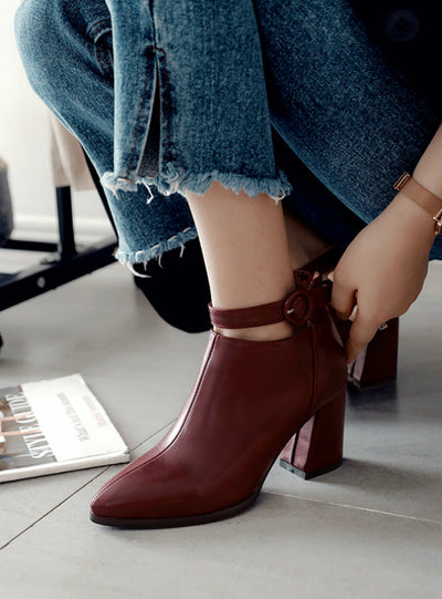Pointed Toe Square Heel Women Boots Fashion