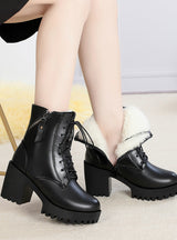 New Genuine Leather Women Boots Natural Wool Warm