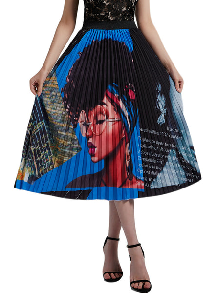 Black Hair Girl Pleats Print Short Skirt