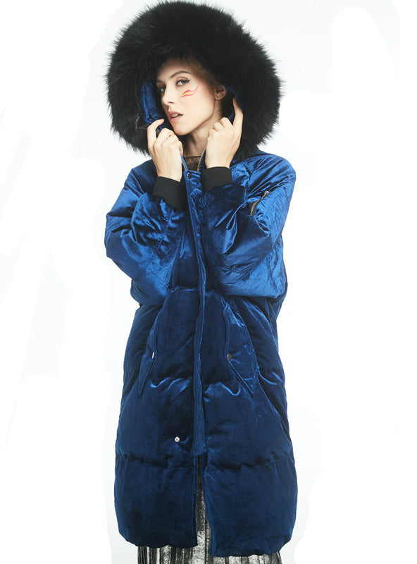 Thick Winter Down Coat Deep Blue New Jacket
