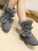 Woman Boots Round Toe Yarn Elastic Ankle Boots