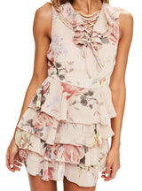Floral Sleeveless Lace-up Ruffle Beach Mini Dresses