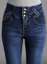 High Waist Button Fly Over Length Skinny Jeans