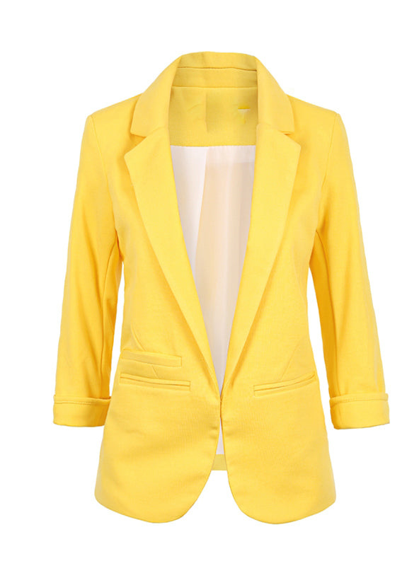 Notched Office Work Open Front Blazer Outfits