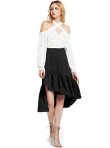 Asymmetrical Ruffle Striped Women Skirts Ruched