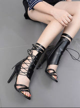 Lace Up Peep Toe Sandals High Heels Ankle Boots