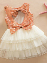 Baby Girls Sequined Bow Dress Kids Wedding Party