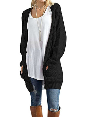 Long Sleeve Solid Color Knit Cardigans Sweater