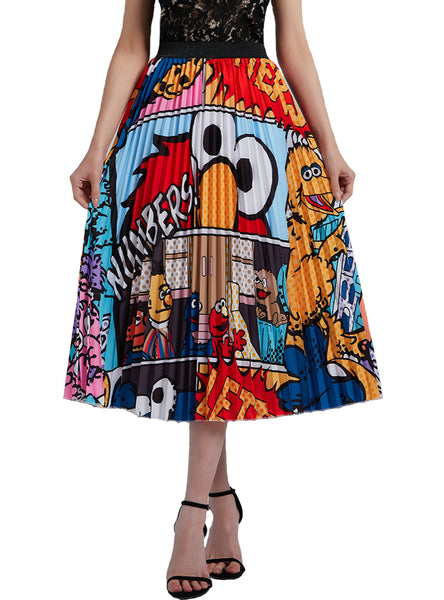Graffiti Pleated Skirt Print Folding High Waist