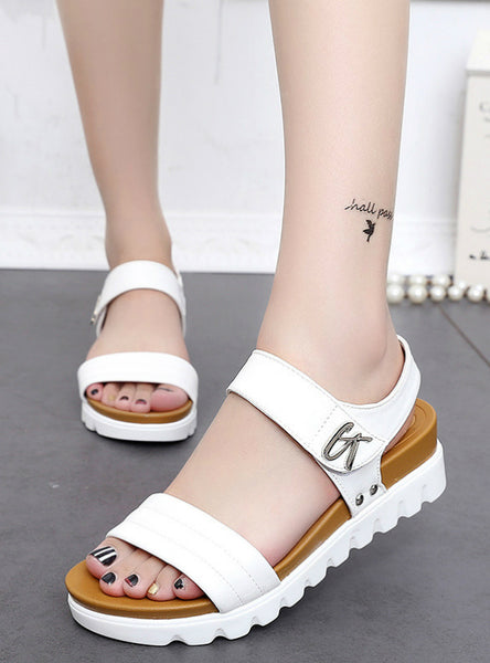 Women Aged Leather Flat Fashion Women Shoes