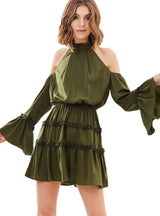 Army Green Sweet Dresses Cold Shoulder Flare Sleeve Ruffles