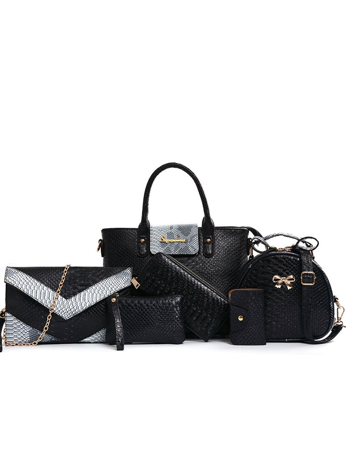 6 Piece Set Alligator Panelled Serpentine Python