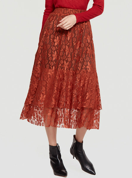 A-Line Lace Skirt Stitching Irregular Skirt