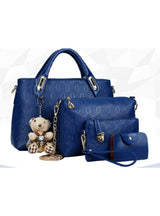 PU Leather Composite Bag Bolsa Femina 4pcs/set