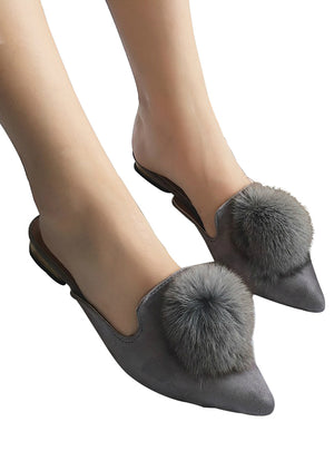 Women Flats Shoes Pompom Faux Fur Pointed Toe