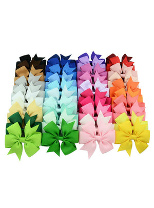 40Pcs/lot 3 Inch Grosgrain Ribbon Hairpins Girl Bows