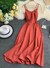 Cross Spaghetti Strap Open Back Solid Ankle-Length Women Dresses