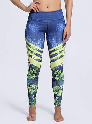 Leaf Printed Plus Size Fitness Legging Push Up