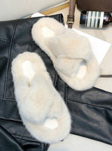 Women Fur Slippers Fashion Cross Band Warm Plush