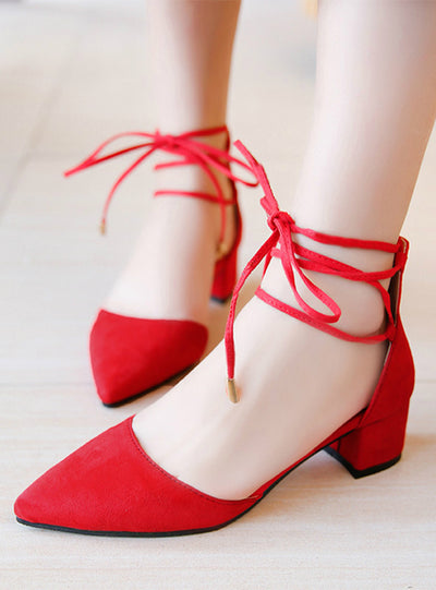 Women Sandals Lace Up Pumps Pointed Toe Square Heeled