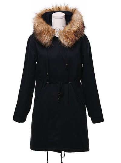Long Cotton-padded Jacket Wool Collar Hat Lamb Cashmere