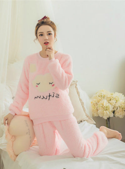 Clouds Pyjamas Sets Thick Warm Coral Velvet Suit