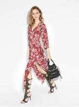 Floral Printed Drawstring Wrap Chiffon Maxi Dress