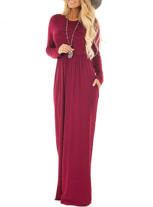 Solid Full Sleeve O-Neck Tunic Elastic Long Maxi Dresses