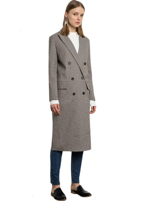 Grey Plaid Trench Coats Double Breasted Wide Waisted