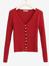 Woman Deep V-neck Long Sleeve Pearl Cardigan Sweater