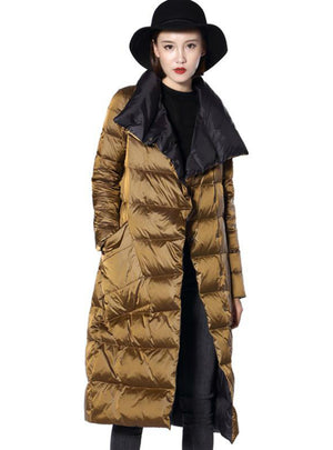 Women Double Sided Down Long Jacket Winter
