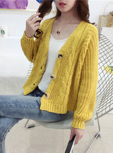 Button Long Sleeve Fashion Woman Small Sweaters