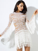 White Geometric Figure Beads Fringes Party Dress