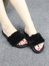Slippers Women Faux Fur Slides Flip Flops Flat Shoes