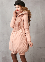 Women's Long Parka Pink Duck Down Coat