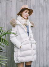 Mid-Length Down Coat With Raccoon Fur Hood