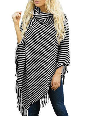 Oblique Striped High Necked Fringed Cape Shawl Sweater