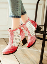Ankle Boot Snake Print Cross tie Hoof High Heels Short Boots