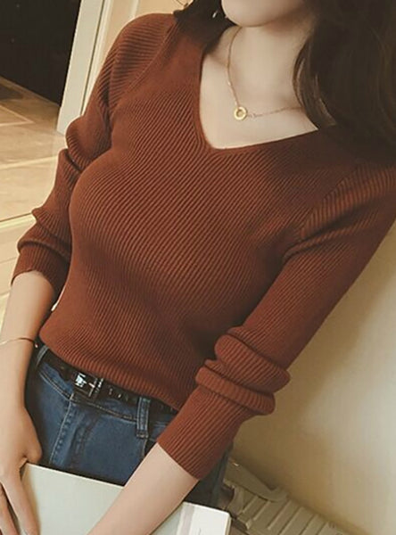 V Neck Sweater Knitted Fashion Womens Sweaters