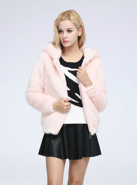 Short Zipper Mink Fur Coat With Cap Imitation Mink Fur