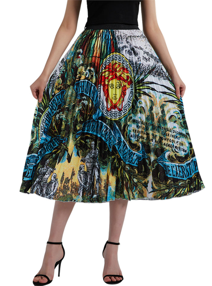 Face Pattern High Waist A-line Skirt Oversized