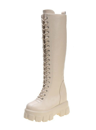 Women Cross Strap PU Leather Boots Knee High Boots
