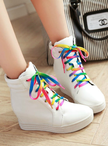 Sneakers Lace Up Wedge Heels Female Shoes