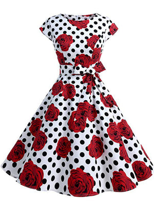 White Point Red Flower Vintage Dress