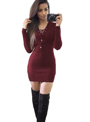 V-Neck Bandage Women Knitted Sweater Dress