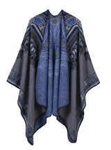 Abstract Pattern Thickened Split Dual-Purpose Shawl